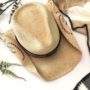 Bullhide straw cowgirl hat. Leather band. Cowboy.